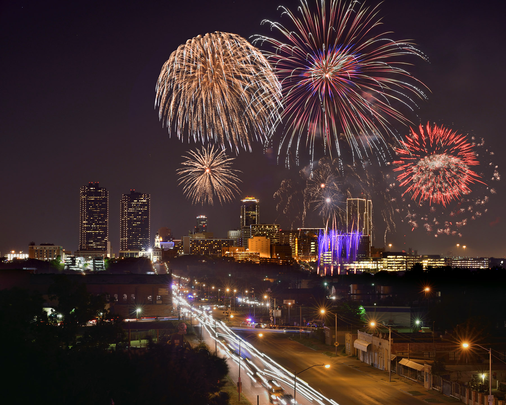 Gorgeous shot of the Trinity River and Fort Worth Skyline at the Fort Worth Fourth Event 2015